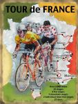 "10225 -  6"" x 8"" Vintage Metal Tour de France Cycling Map Steel Sign Plaque"